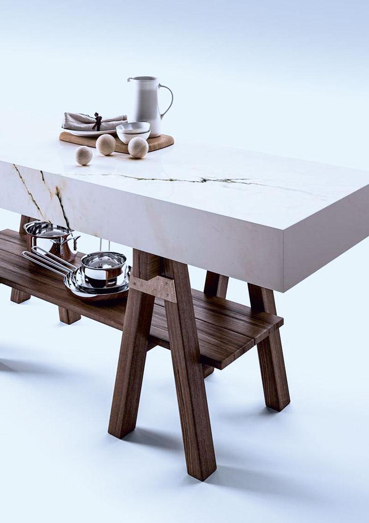 Elements in Marmoroptik als Küchenplatte