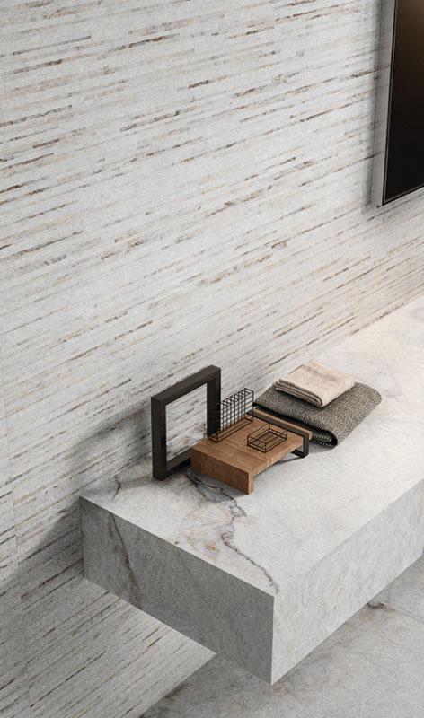 Elements in Steinoptik als Sideboard im Wohnzimmer