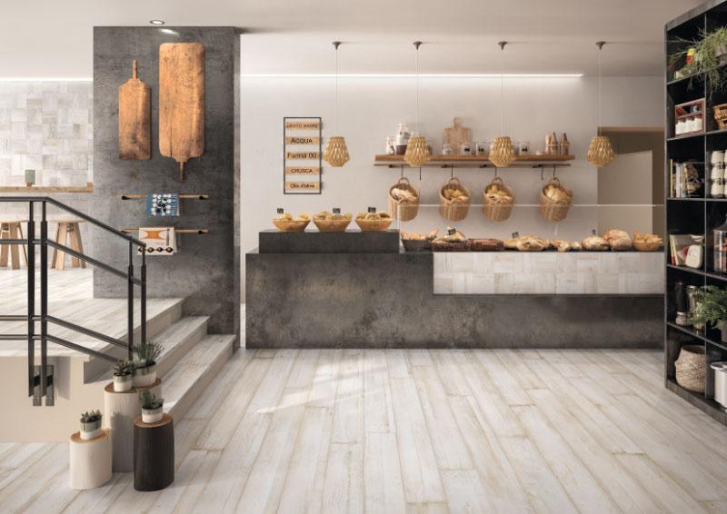 Elements in Betonoptik als Verkaufsfläche beim Bäcker